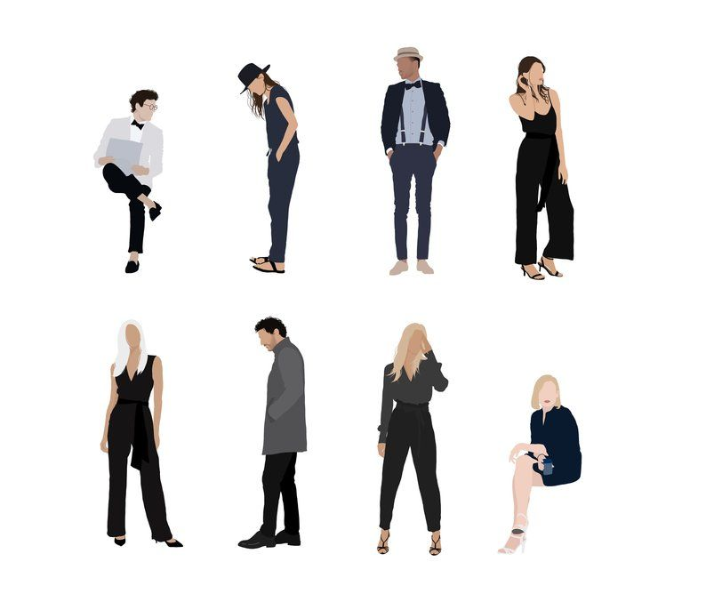 8 People Package Vector Clipart Png Ai Human Person Illustration Woman Man Party People Illustration People Png Silhouette People