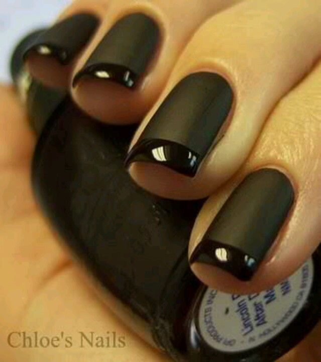 This Tuxedo French looks flawless! | nails | Black nails, Matte