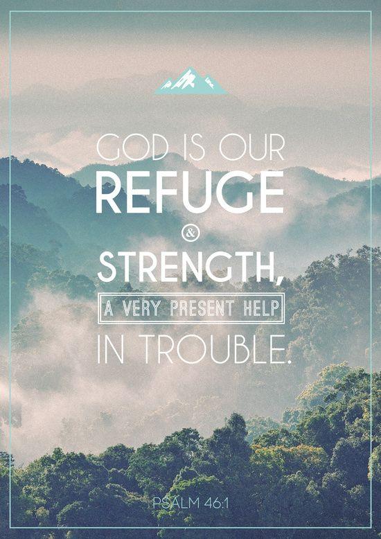 Typographic Motivational Bible Verses - Psalm 46:1 Art Print