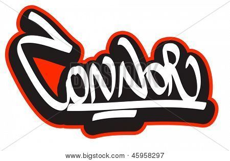 Connor graffiti font style name hip hop design template for Name style design