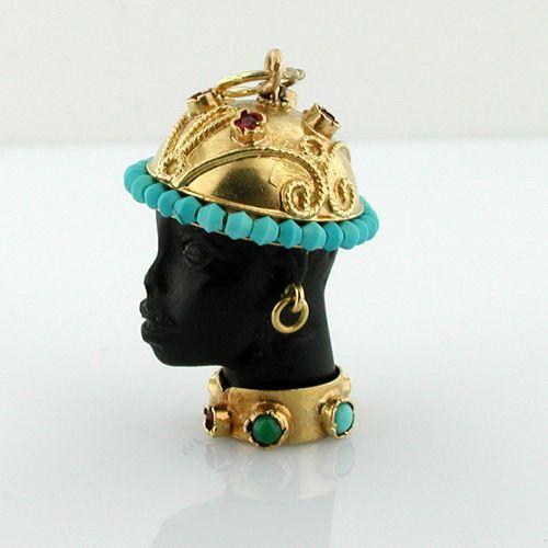 Blackamoor Turquoise 18K Gold Jeweled Vintage Charm