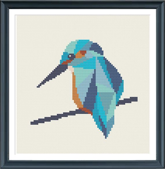 Photo of cross stitch pattern kingfisher, geometric kingfisher, modern cross stitch, nature, bird, PDF,  ** instant download**