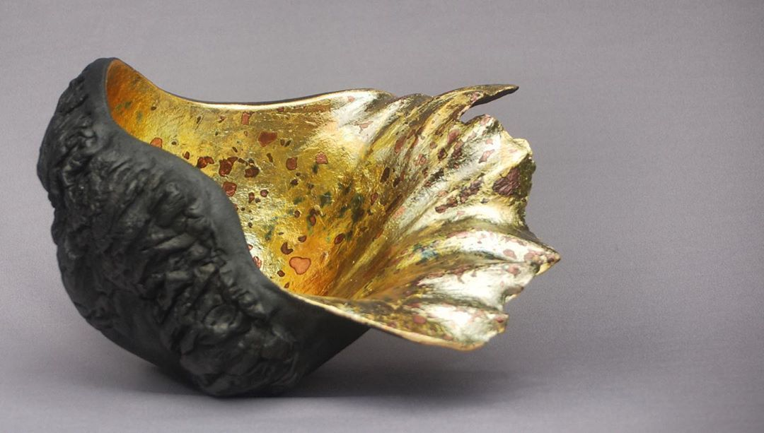 "Kay Lynne Sattler ""Queen's Bath"" Handbuilt pit fired clay-gilded & torched gold leaf.  #queensbath #handbuiltceramics #smokefiredceramics…"""