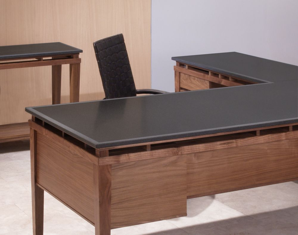 L Shaped Executive Desk With Attached Return Console In Walnut A Honed Black