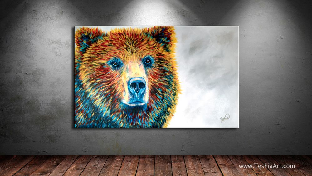 Brown Bears Wildlife Funny Large Poster Art Print in multiple sizes