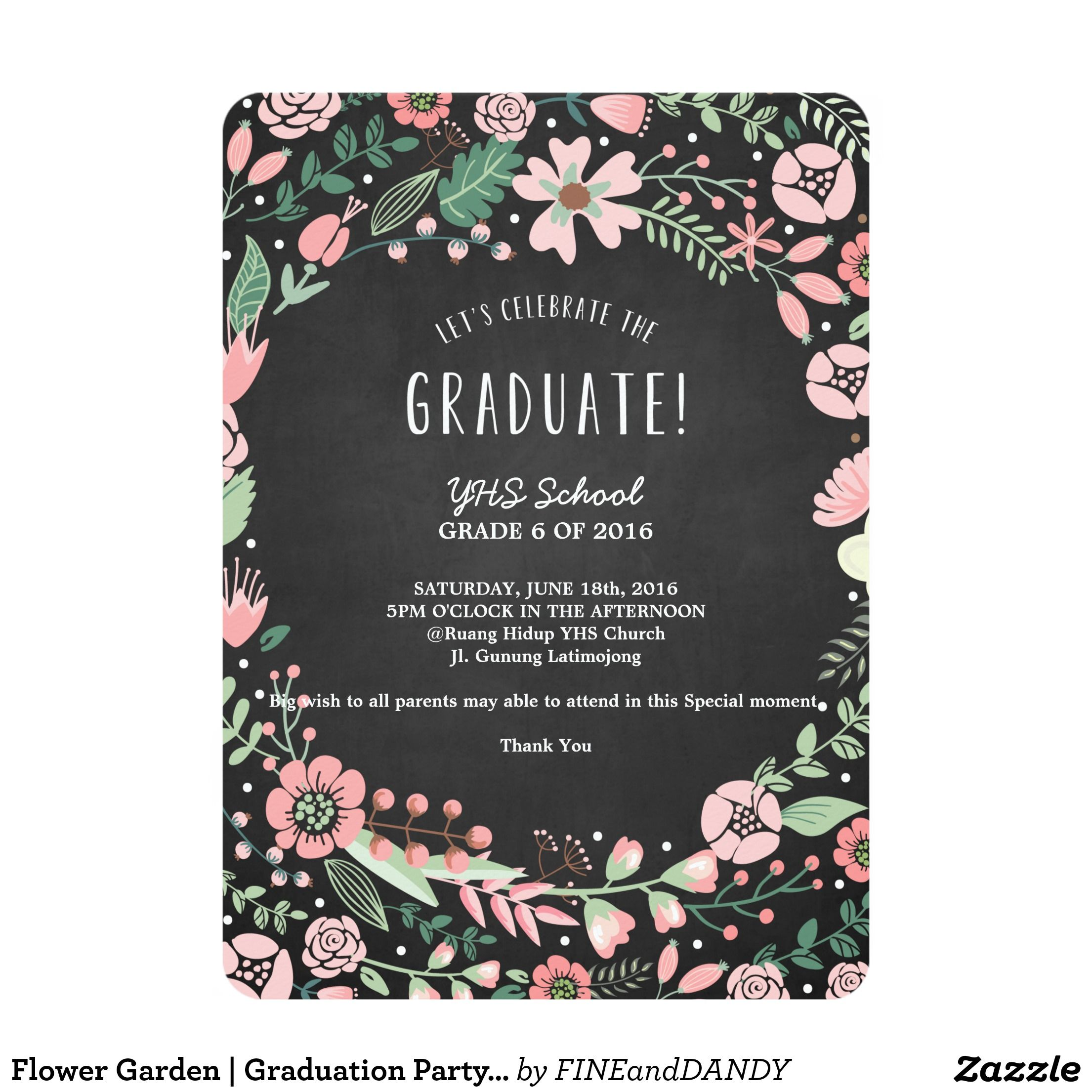 Flower Garden Graduation Party Invitation Party Invitations And