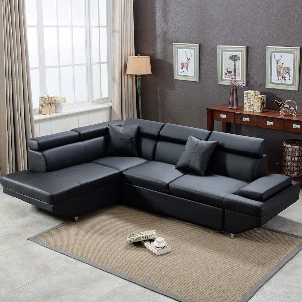 Almonte Modern Futon Sectional Sofa Futon Sectional Futon Living Room Leather Futon