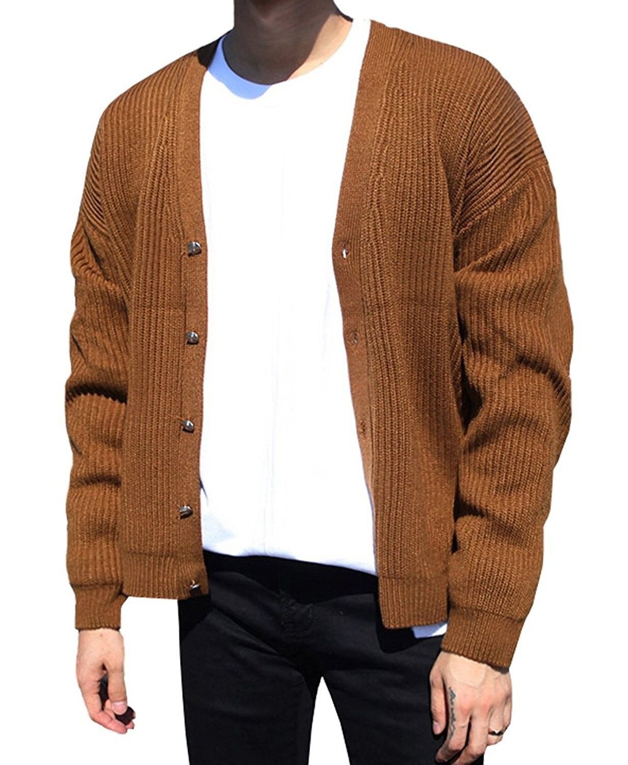 Men's Classic V Neck Button Casual Cardigan  Brown  C9188TX3O5K is part of Clothes Mens Classic - Color Brown SKU C9188TX3O5K Giftwrap Available