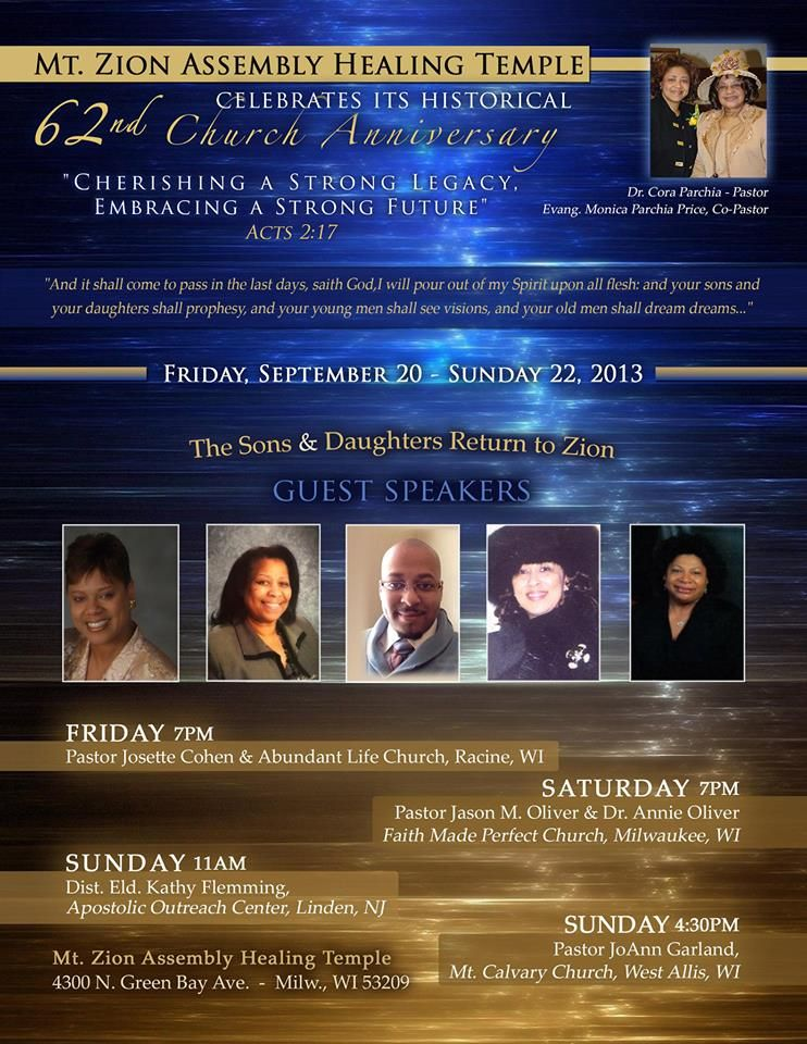Mt  Zion Assembly Healing Temple 62nd Church Anniversary on