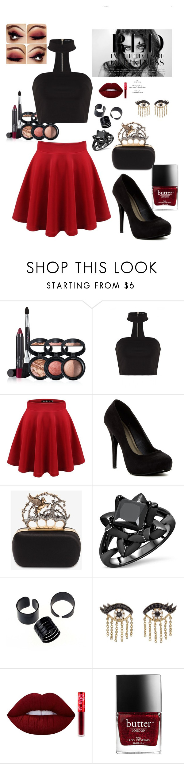 """""""I somehow find You and I collide"""" by gothgirl87454 ❤ liked on Polyvore featuring Laura Geller, Michael Antonio, Alexander McQueen, Sydney Evan and Lime Crime"""