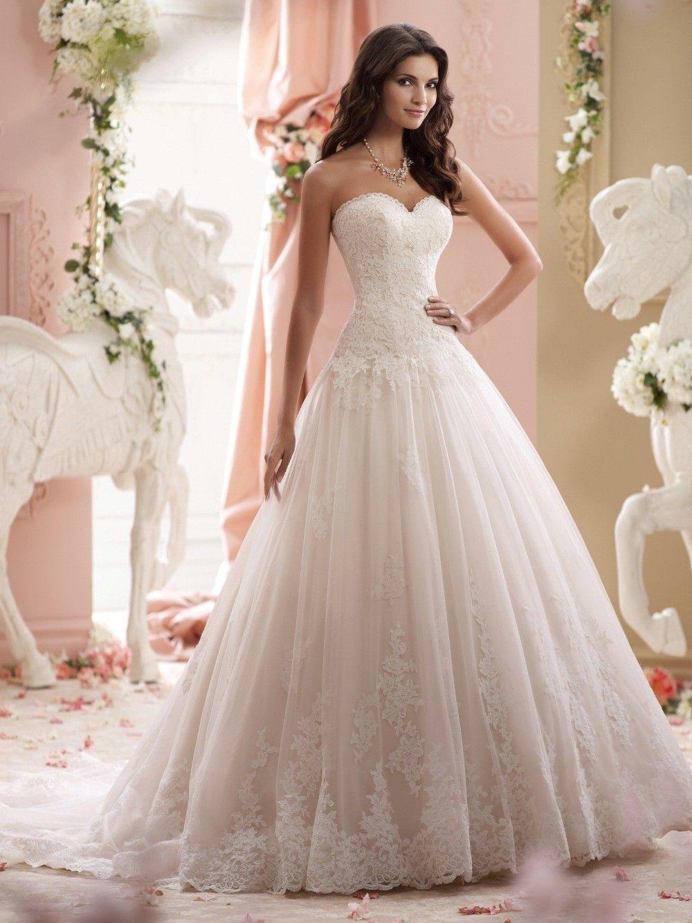Sweetheart Sweep Train Long Ivory Lace Wedding Dress