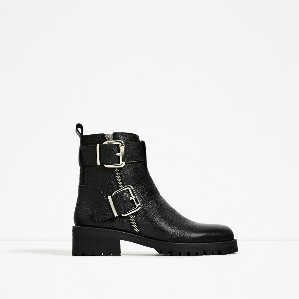 image 2 de bottines en cuir À boucles de zara | wish | pinterest