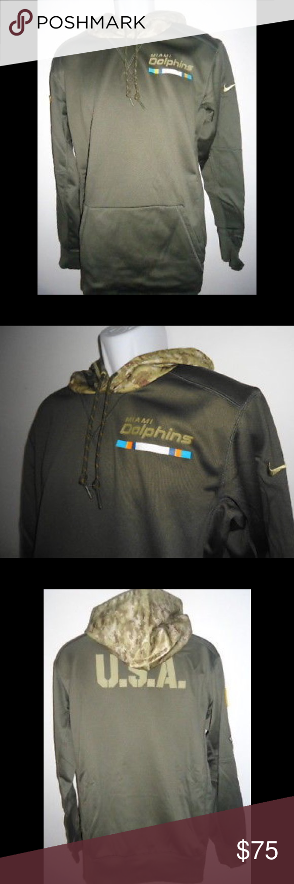 best service 27a8c 14fbe Dolphins Nike NFL Salute To Service Therma Hoodie Show your ...