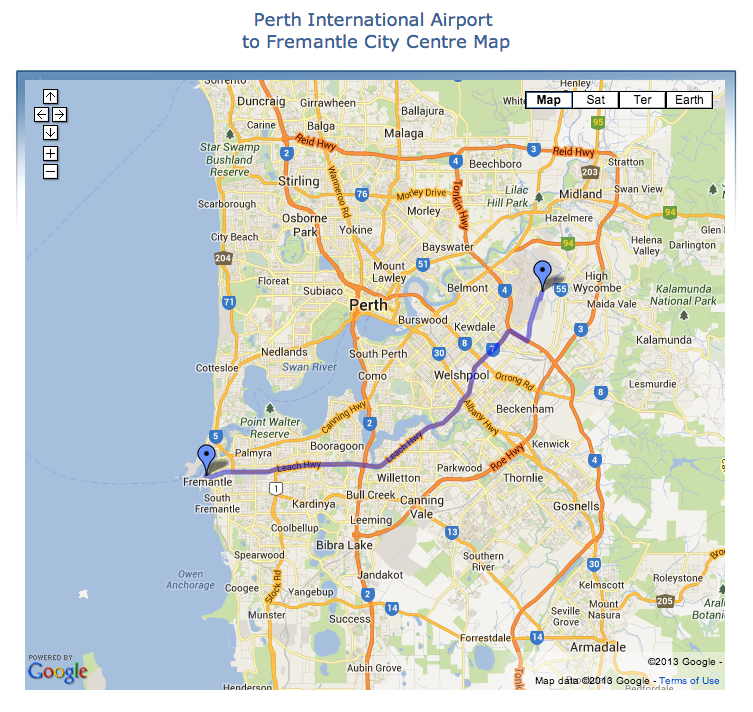 Perth International Airport To Fremantle Driving Directions Map Fremantle Perth Airport Driving Maps