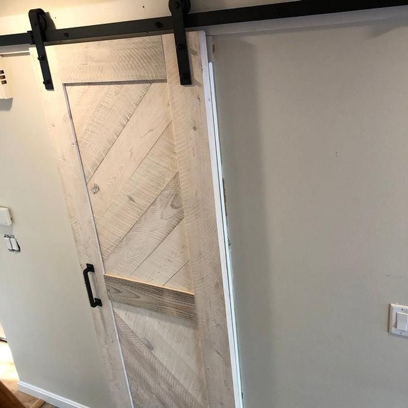Whitewashed Solid Cypress Sliding Chevron Barn Doors Built To Order In 2020 Wood Entry Doors Doors Sliding French Doors