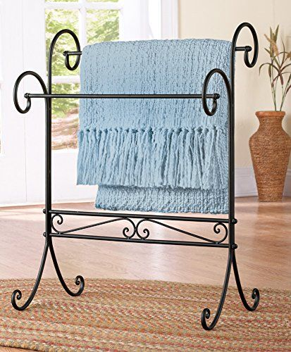 Black Iron Scrollwork Blanket Quilt Stand Organizer Holde Quilt Rack Iron Furniture Collections Etc