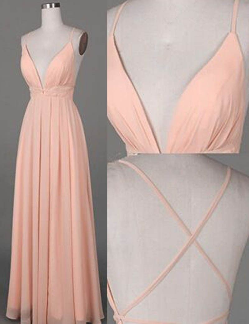 Simple Spaghetti Straps Floor Length Criss Cross Peach Prom Dress With D