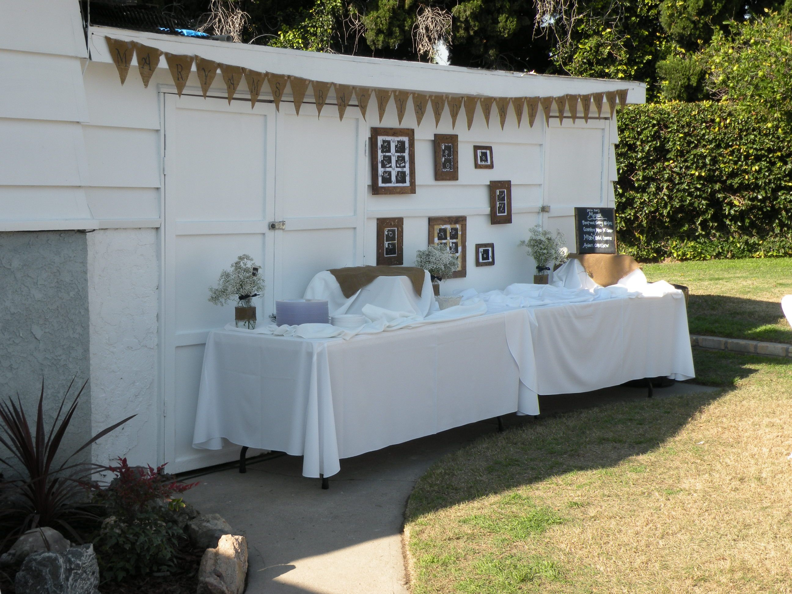 Rustic Baby Shower: Backyard Baby-Q Bash: Ultrasound game over Buffet Tables
