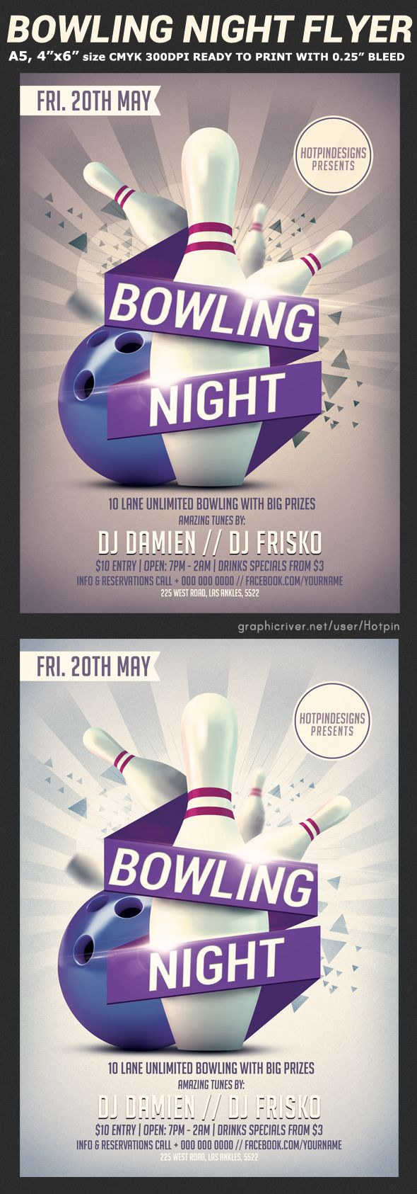 Bowling Night Flyer Template V2 On Behance  Bowling Flyer Template Free