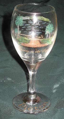 """""""Picton Foreshore"""" - drill engraving on front and rear of wine glass with overpainting"""