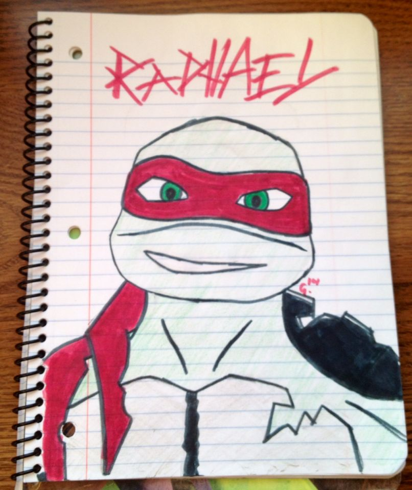 I drew my fav turtle. I won't allow myself do draw anything other than tmnt in this notebook because it has the turtles on the front and I'm Weird like that.