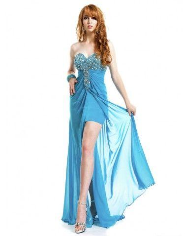 strapless sweetheart highlow formal dance dresses  blaue abschlussballkleider abendkleid