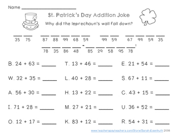 St Patrick S Day Double Digit Addition And Subtraction Jokes Double Digit Addition Addition And Subtraction Subtraction Facts