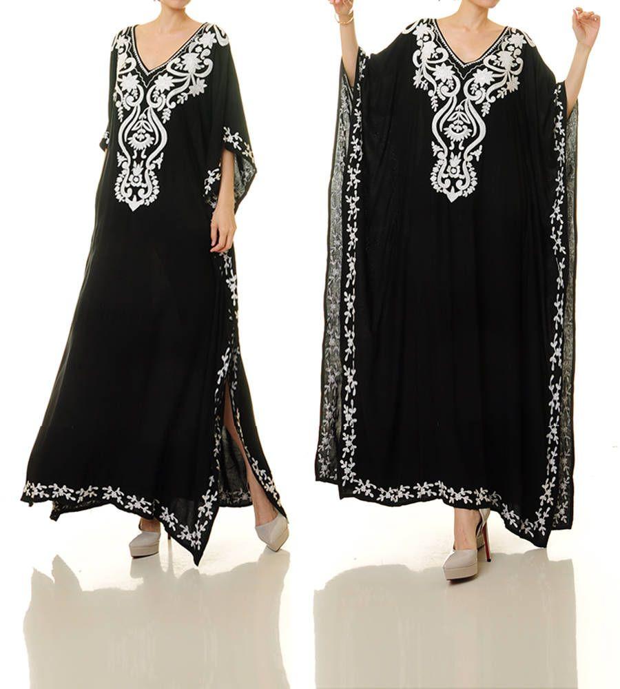 Black embroidered dress black mexican dress embroidered kaftan