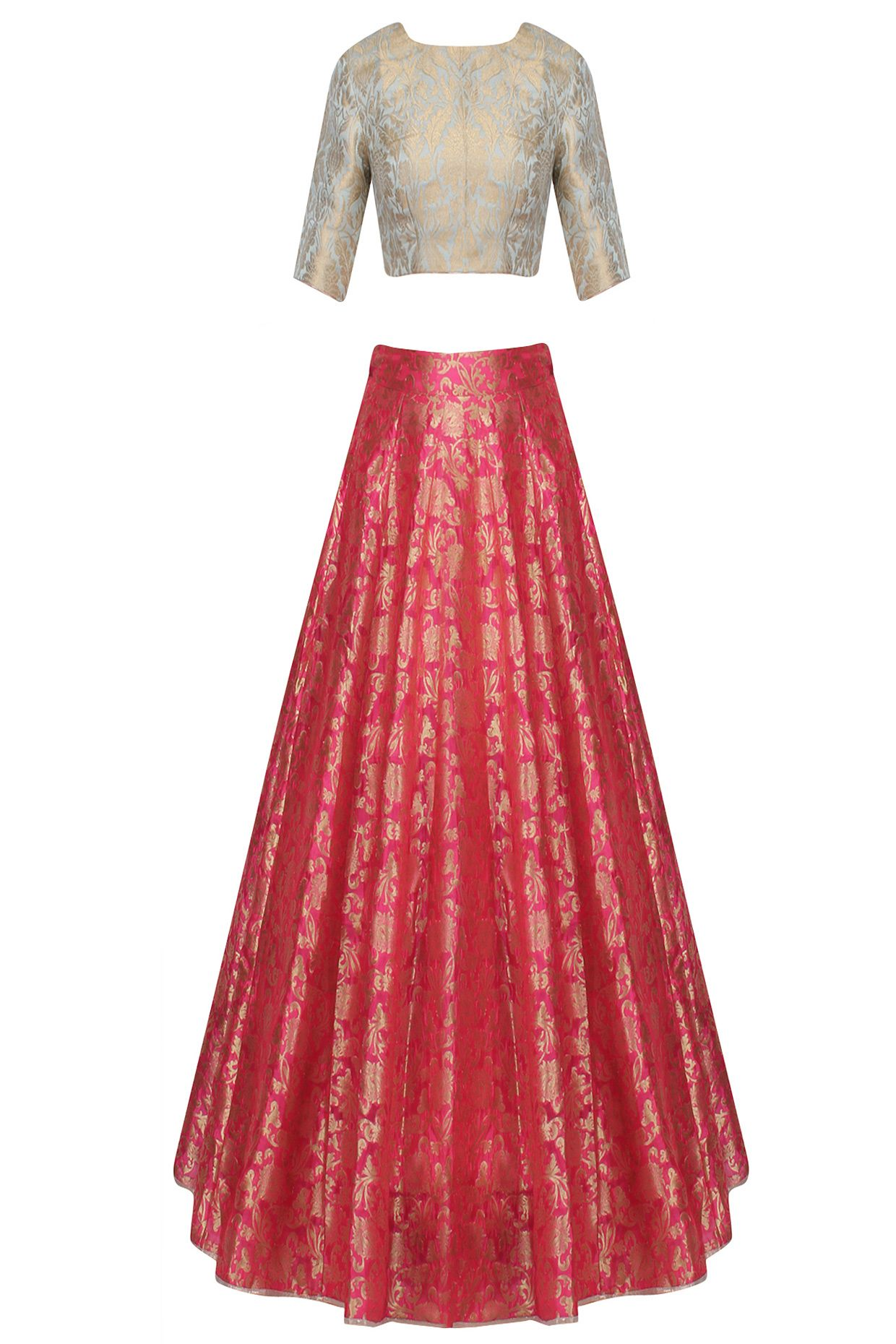 Aqua blue and pink ornate brocade lehenga set available only at