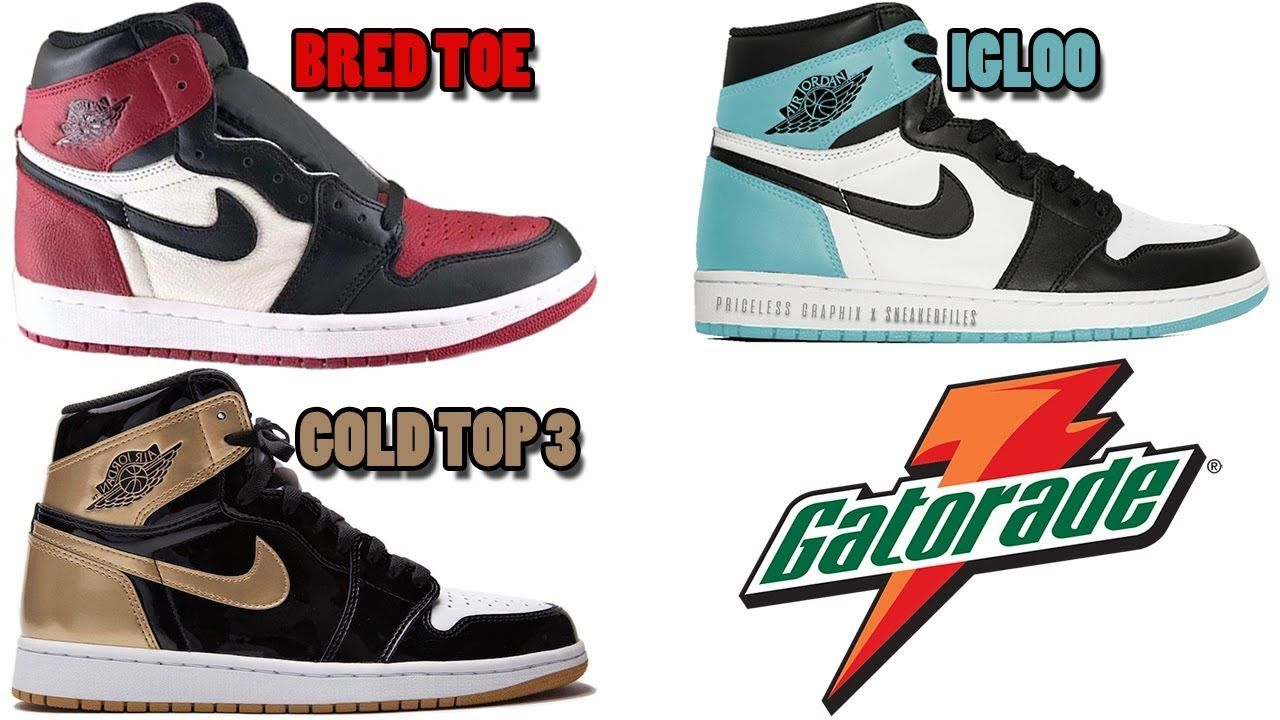cheap for discount ddc50 cc928 AIR JORDAN 1 BRED TOE, JORDAN 1 GATORADE ORANGE + BLUE, JORDAN 1 GOLD