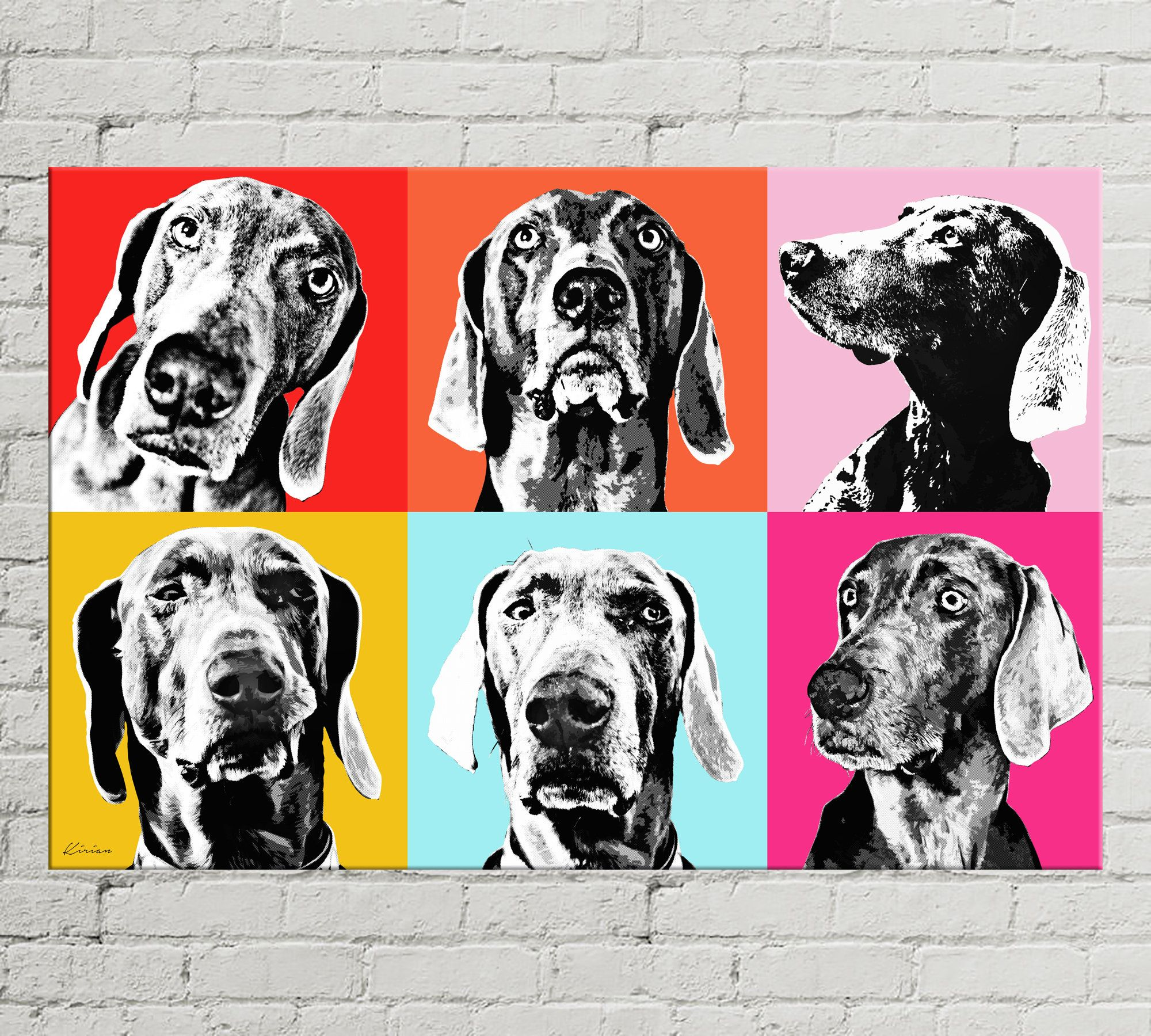 Custom Pop Art Pet Portrait Andy Warhol Style Pop Art Canvas Dog