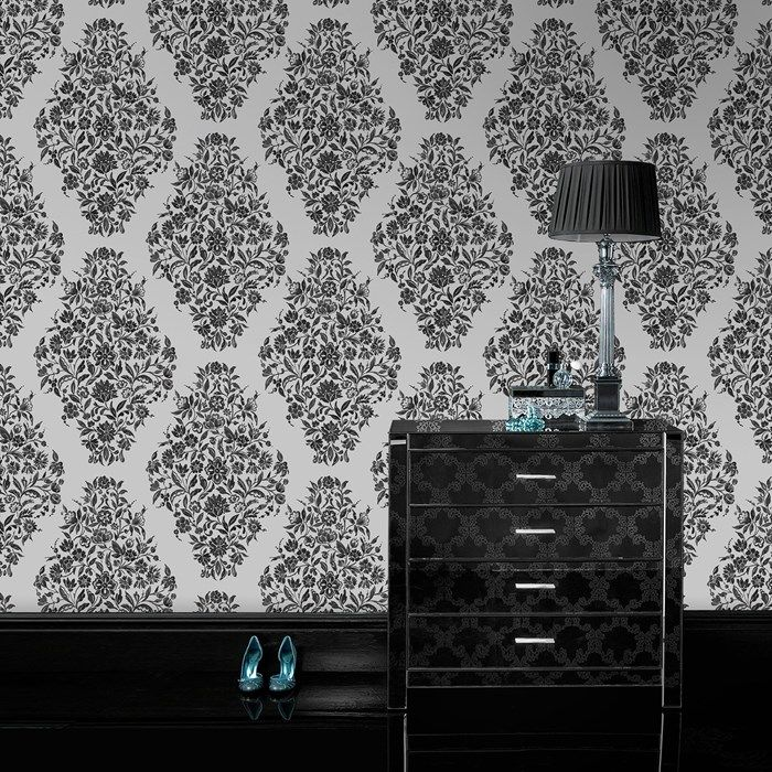 floribunda black white wallpaper by graham and brown tapisseries magnifique pinterest. Black Bedroom Furniture Sets. Home Design Ideas