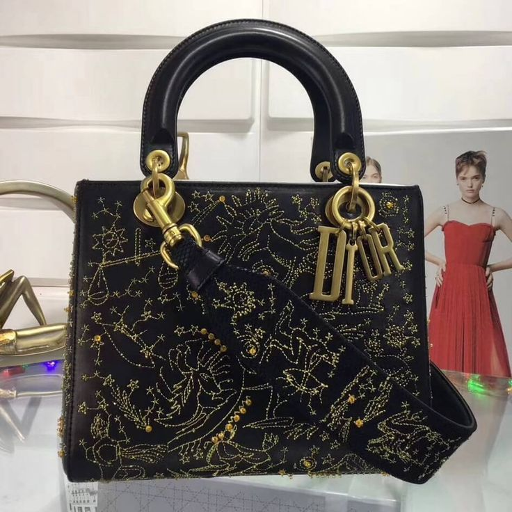 Dior Lady Dior Supple Bag Embroidered With Gold Thread Black 2018 Lady Dior Dior Handbags Lady Dior Bag