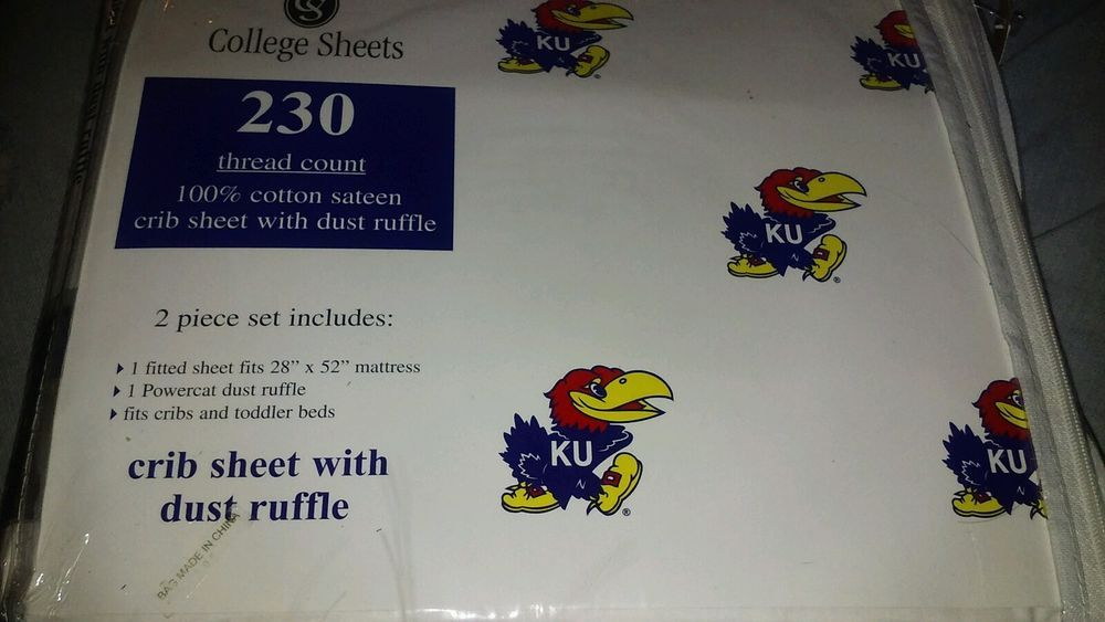New Kansas KU jayhawks Crib sheet with dust ruffle baby crib bedding - baseball stats spreadsheet