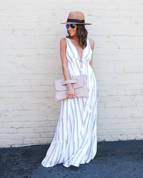 Nantucket Striped Maxi Dress Blue