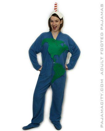 DIY Planet Earth Halloween Costume Idea Using Footed Pajamas