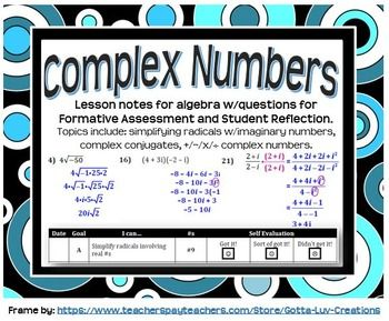 Complex Numbers (Guided Notes for Algebra) | | Math • Middle