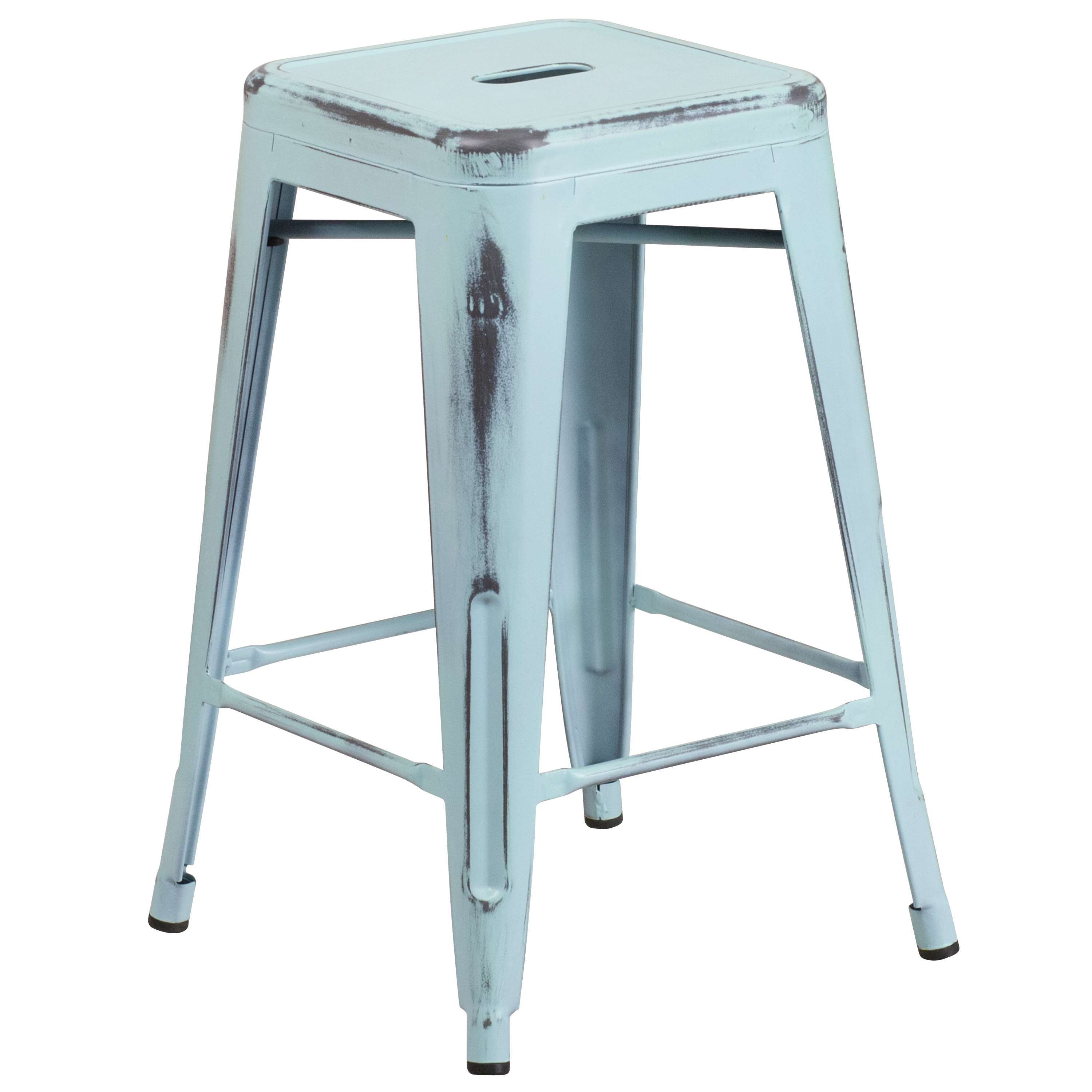 Lovely Blue Metal Bar Stools