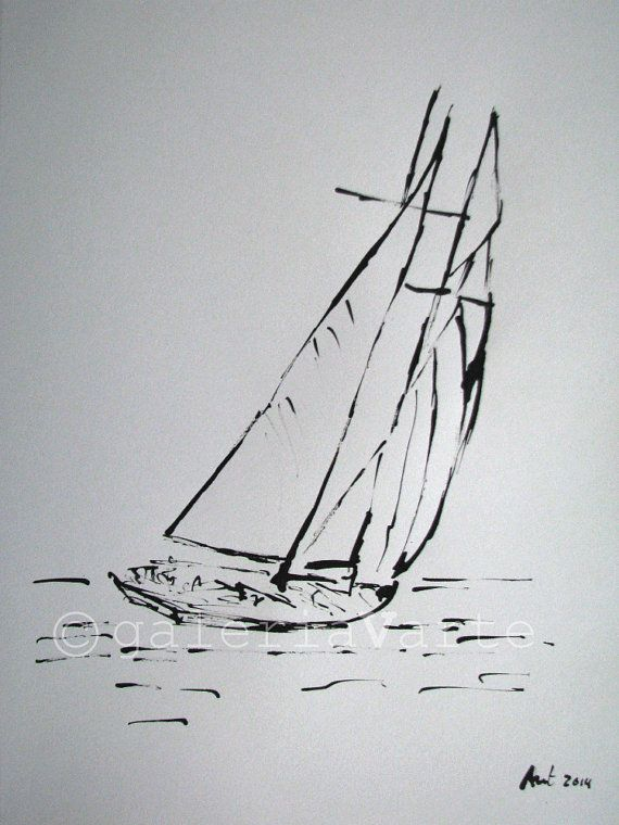 Original ink drawing - sailboat - europeanstreetteam | Pinterest ...