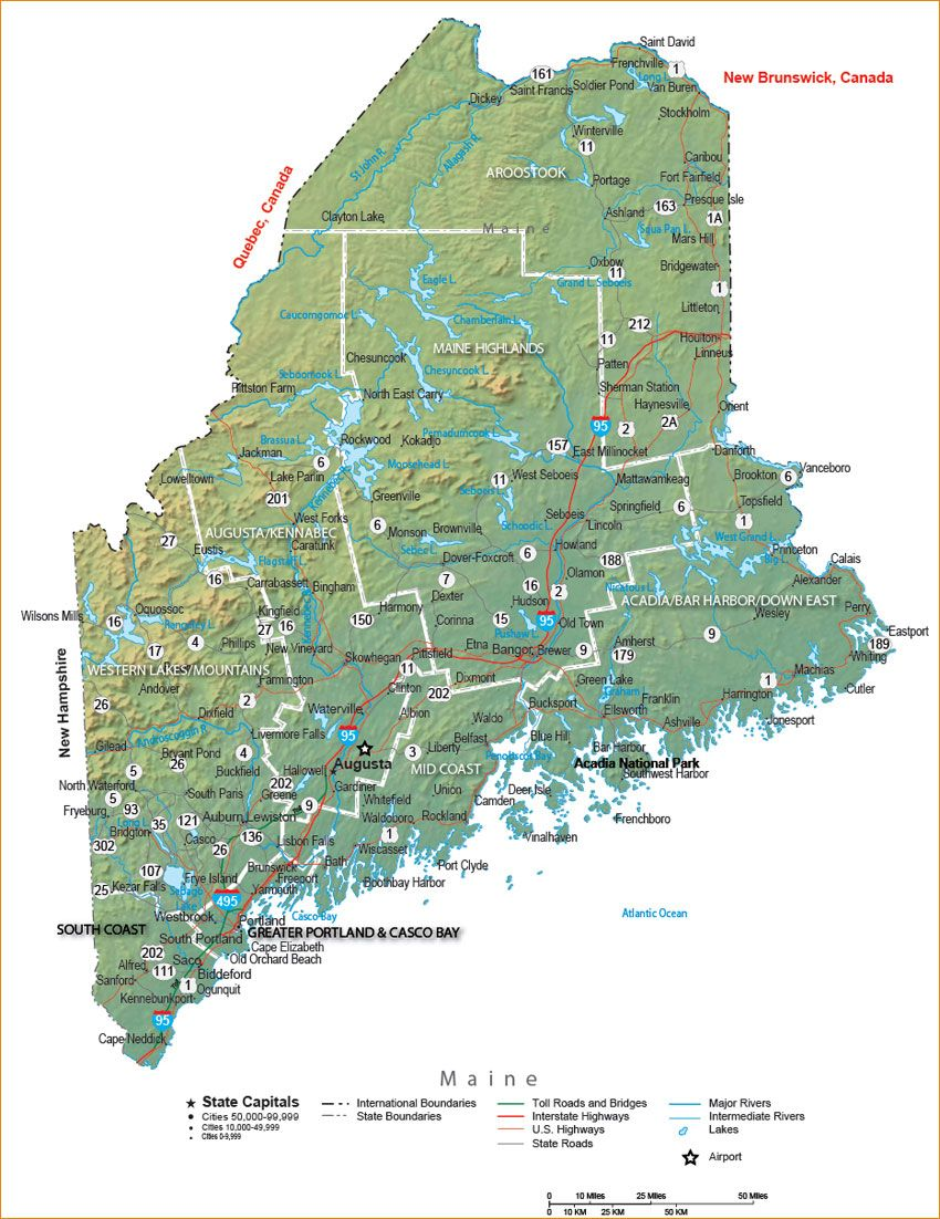 Maine State Map New England Pinterest Highway map and City