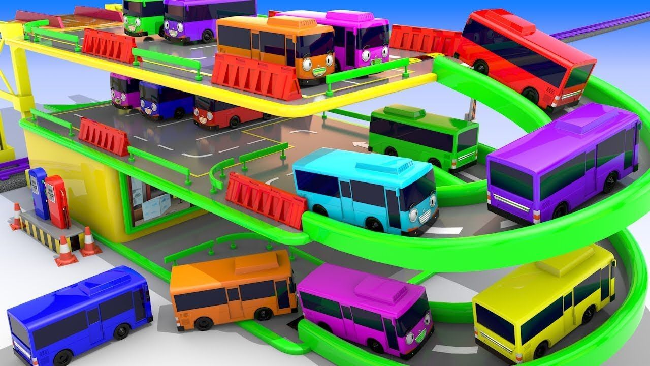 Colors for Children to Learn with Street Vehicle Toy Bus Multilevel ...