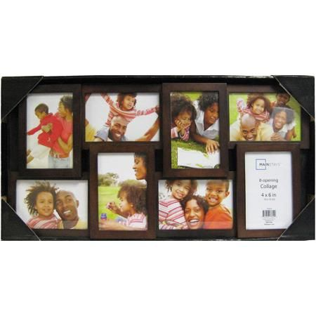mainstays 8 opening 4x6 collage picture frame walnut walmartcom