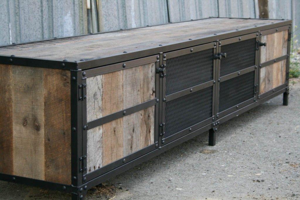 industrial media console oak - Reclaimed Wood Media Console