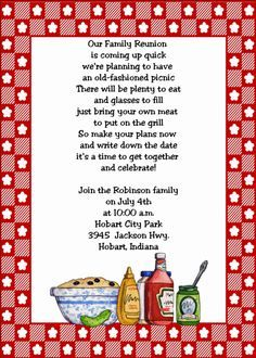 Family Reunion Invitations  Family Reunion Party Invitations