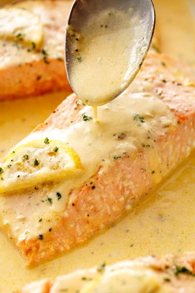 Easy Baked Salmon with Lemon Butter Cream Sauce -