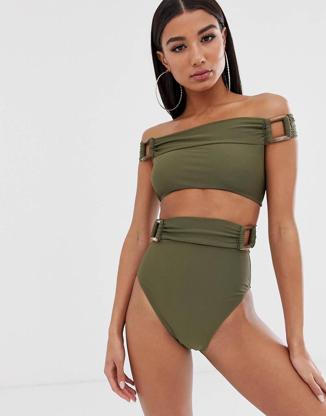 DESIGN recycled high waist bikini bottom with tortoiseshell