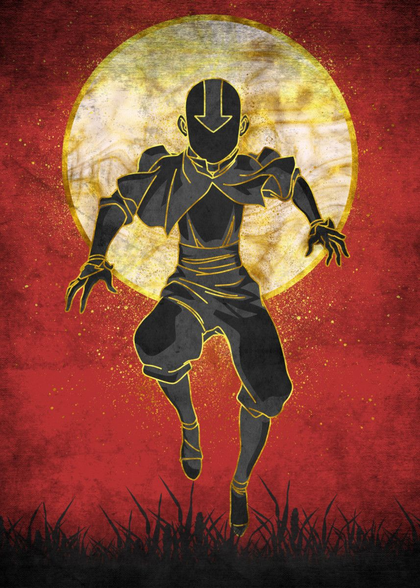Aang Silhouette Vintage Posters Poster Print Metal Posters Displate Avatar Poster Avatar Legend Of Aang Avatar Tattoo