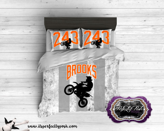 Motocross Grunge Theme Bedding Custom Design And Personalized