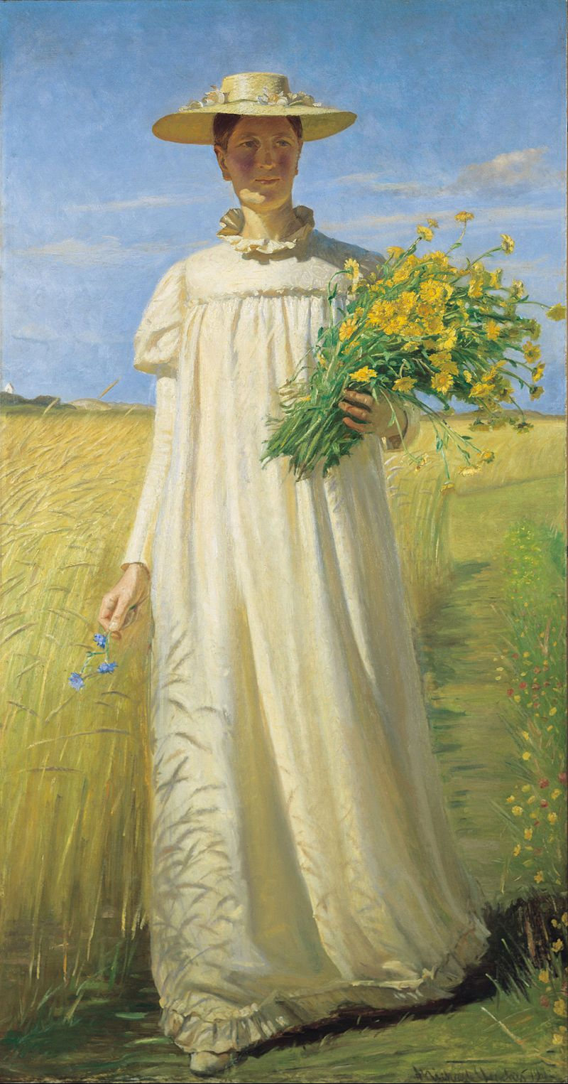 """Anna Ancher Returning from the Field by Michael Ancher (1849-1927), Danish Impressionist painter - Influenced by his traditional training at the Royal Danish Academy of Fine Arts which imposed strict rules for composition, he found it difficult to adjust to Scandinavian painting's modern breakthrough, the """"Skagen School"""". But he combined the pictorial composition of his youth with the teachings of naturalism and created what has been called modern monumental figurative art (wiki)"""