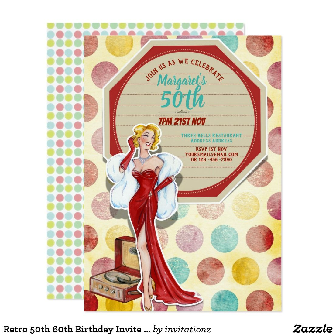 Retro 50th 60th Birthday Invite Elegant Woman | Gift Ideas Generator ...
